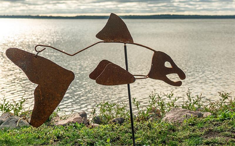 Sam, Water's Edge Metal Art metal fish sculpture